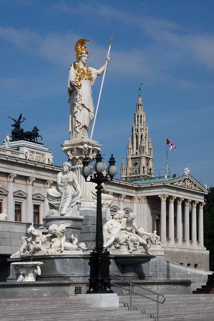 Athene Fountain; statue of Athena; 1902; Austrian Parliament building; 1883; Greek Revival; Vienna; Austria; Wien
