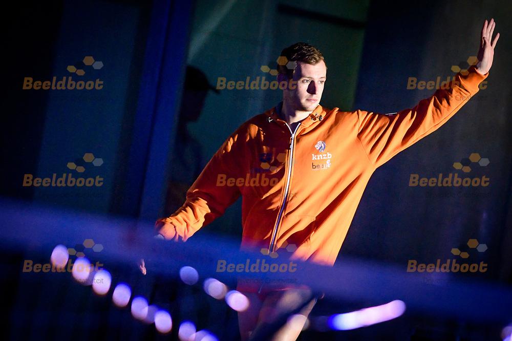 12-12-2017: Waterpolo: Nederland v Hongarije: Alphen aan den Rijn<br /> <br /> (L-R) Kjeld Veenhuis of team Netherlands during FINA men's Waterpolo World League match between team Netherlands and Hungary in swimming-pool Aquarijn, Alphen aan den Rijn, Netherlands<br /> <br /> FINA men's Waterpolo World League - Season 2017 / 2018 <br /> <br /> Foto / Photo: Gertjan Kooij