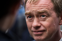 © Licensed to London News Pictures. 07/06/2017. Twickenham, UK. Liberal Democrat leader Tim Farron talks to reporters as he campaigns in Twickenham with local candidate Vince Cable on the last day of the election before the polls open. Photo credit: Peter Macdiarmid/LNP