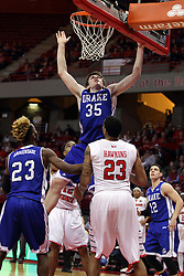 26 January 2016: Nick McGlynn(35) spreads eagle for an opportunity for a rebound that never develops during the Illinois State Redbirds v Drake Bulldogs at Redbird Arena in Normal Illinois (Photo by Alan Look)