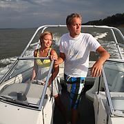 Anna Janssen and her boyfriend Austin Ewell enjoy a boat ride on Red Rock Lake near Pella, Iowa on Labor Day, 2010.