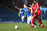 Callum Camps is fouled  during the EFL Sky Bet League 1 match between Rochdale and Charlton Athletic at Spotland, Rochdale, England on 5 May 2018. Picture by Daniel Youngs.