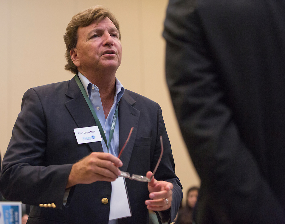 Dan Crowther, the Director of Marketing for Hurricane Junior Golf Tour, talks to College of Business students at the Career Fair in Baker Ballroom on October 13, 2016.