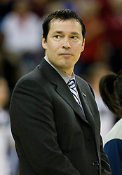 March 29, 2010; Sacramento, CA, USA; Xavier Musketeers head coach Kevin McGuff before the game against the Stanford Cardinal in the finals of the Sacramental regional in the 2010 NCAA womens basketball tournament at ARCO Arena.  Stanford defeated Xavier 55-53.