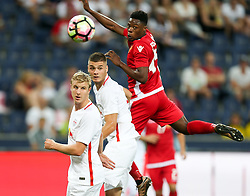 03.08.2016, Red Bull Arena, Salzburg, AUT, UEFA CL Qualifikation, FC Red Bull Salzburg vs FK Partizani Tirana, dritte Runde, Rückspiel, im Bild Martin Hinteregger (FC Red Bull Salzburg), Duje Caleta Car (FC Red Bull Salzburg) und Caleb Ekuban (FK Partizani Tirana) //during UEFA Champions League Qualifier 2nd leg, 3rd round match between FC Red Bull Salzburg vs FK Partizani Tirana at the Red Bull Arena in Salzburg, Austria on 2016/08/03. EXPA Pictures © 2016, PhotoCredit: EXPA/ Roland Hackl
