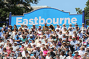 Fans bathed in sunshine during the Semi Final match between Sloane Stephens of the United States and Agnieszka Radwanska of Poland at the Aegon International, Devonshire Park, Eastbourne, United Kingdom on 26 June 2015. Photo by Ellie Hoad.