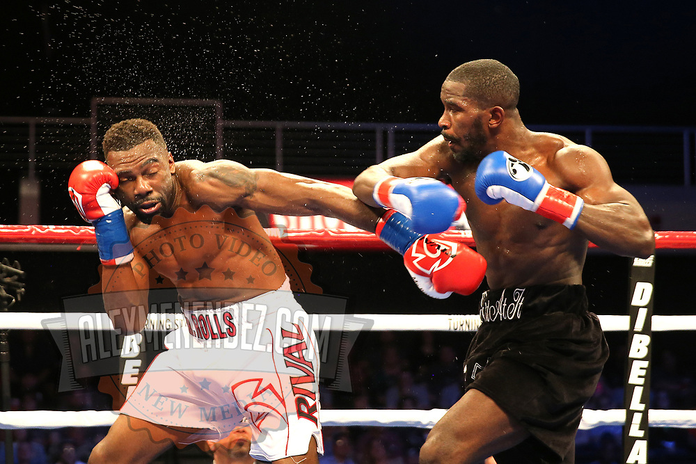 VERONA, NY - JUNE 09:  Steve Rolls (R) and Demond Nicholson trade punches during a ShoBox boxing match at the Turning Stone Resort Casino on June 9, 2017 in Verona, New York. (Photo by Alex Menendez/Getty Images) *** Local Caption *** Steve Rolls; Demond Nicholson