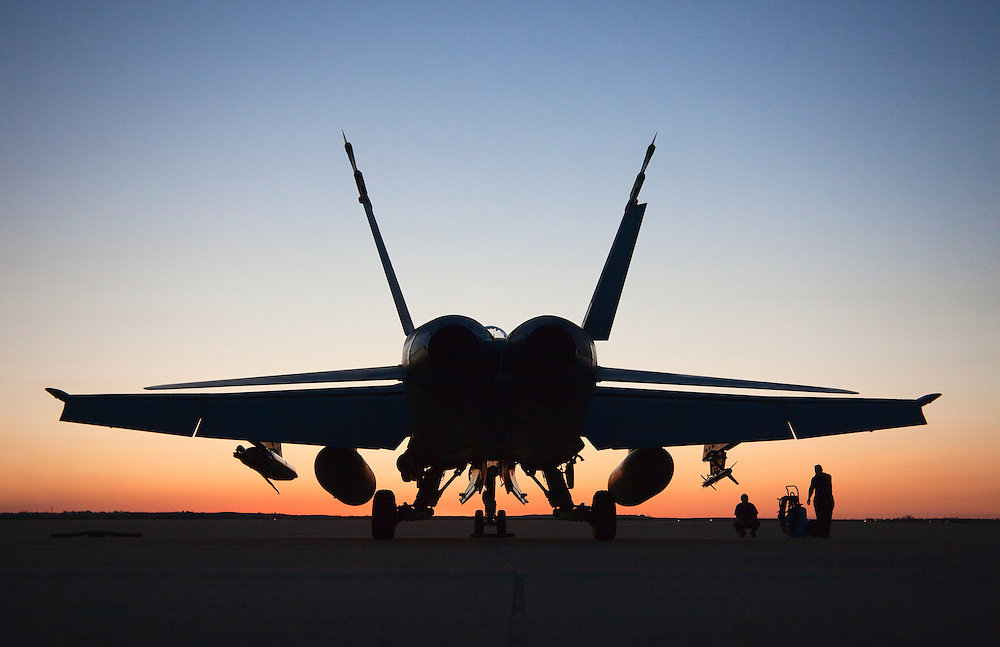 Canadian CF-18 at the Salina, Kansas airport being prepped for a sunset flight takeoff.
