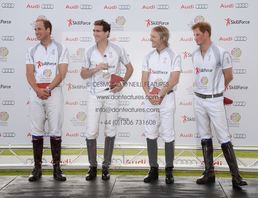 Left to right, HRH THE DUKE OF CAMBRIDGE, LUKE TOMLINSON, MARK TOMLINSON and HRH PRINCE HARRY OF WALES  at the Audi Polo Challenge 2013 at Coworth Park Polo Club, Berkshire on 3rd August 2013.