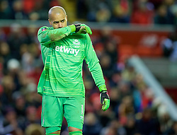 LIVERPOOL, ENGLAND - Saturday, January 30, 2016: West Ham United's goalkeeper Darren Randolph in action against Liverpool during the FA Cup 4th Round match at Anfield. (Pic by David Rawcliffe/Propaganda)