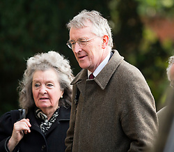 © Licensed to London News Pictures. 13/11/2015. London, UK.  Labour MP HILARY BENN arriving for The funeral of former Labour MP Michael Meacher at St Mary's Church in Wimbledon, south west London.  Michael Meacher, who was a Labour MP in Oldham for over 40 years, served as Minister of State for the Environment in the Tony Blair government.  Photo credit: Ben Cawthra/LNP