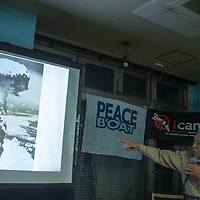 November 1,2017,TOKYO, HIbakusha  , Nobuo Miyake victims of nuclear bomb from Hiroshima speak about  his experiences of  nuclear war to  japanese who never heard stories of Hibakushas after  ICAN network intertational was  awarded by  Peace nobel Prize,  director of  ICAN  dedicated  the prize to Hibakusha, the talk session was hold by PEACE BOAT organisation and  ICAN .Pierre Boutier