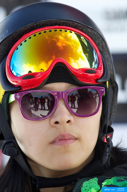 Xuetong Cai, China, winner of the Ladies Half Pipe Finals in the LG Snowboard FIS World Cup, during the Winter Games at Cardrona, Wanaka, New Zealand, 28th August 2011. Photo Tim Clayton..