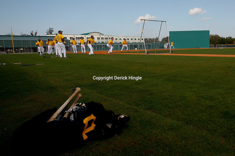 February 21, 2011; Bradenton, FL, USA; Pittsburgh Pirates players work on base running drills during spring training at Pirate City minor league training complex.  Mandatory Credit: Derick E. Hingle
