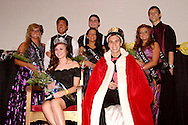 Seniors prom queen Morgan Terrill and king Nick Umbdenstock sit surrounded by the 2011 prom court during the Fairborn High School prom at Wright State University's Student Union in Fairborn, Saturday, May 7, 2011.