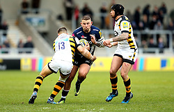 Mark Jennings of Sale Sharks is tackled by Jimmy Gopperth and Danny Cipriani of Wasps - Mandatory by-line: Robbie Stephenson/JMP - 19/02/2017 - RUGBY - AJ Bell Stadium - Sale, England - Sale Sharks v Wasps - Aviva Premiership