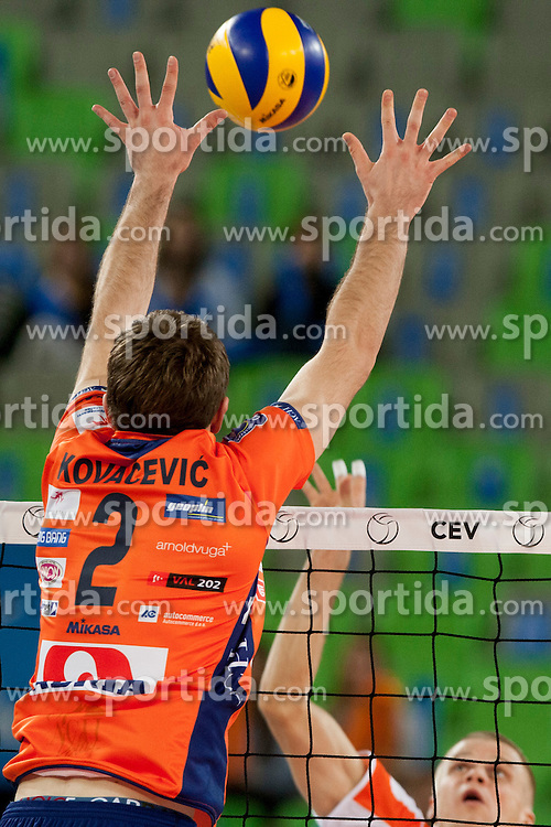 Uros Kovacevic #2 of ACH Volley during volleyball match between ACH Volley (SLO) and Euphony Asse-Lennik (BEL) in 3rd Leg of Pool D of 2013 CEV Champions League on November 14, 2012 in Arena Stozice, Ljubljana, Slovenia. (Photo By Urban Urbanc / Sportida)