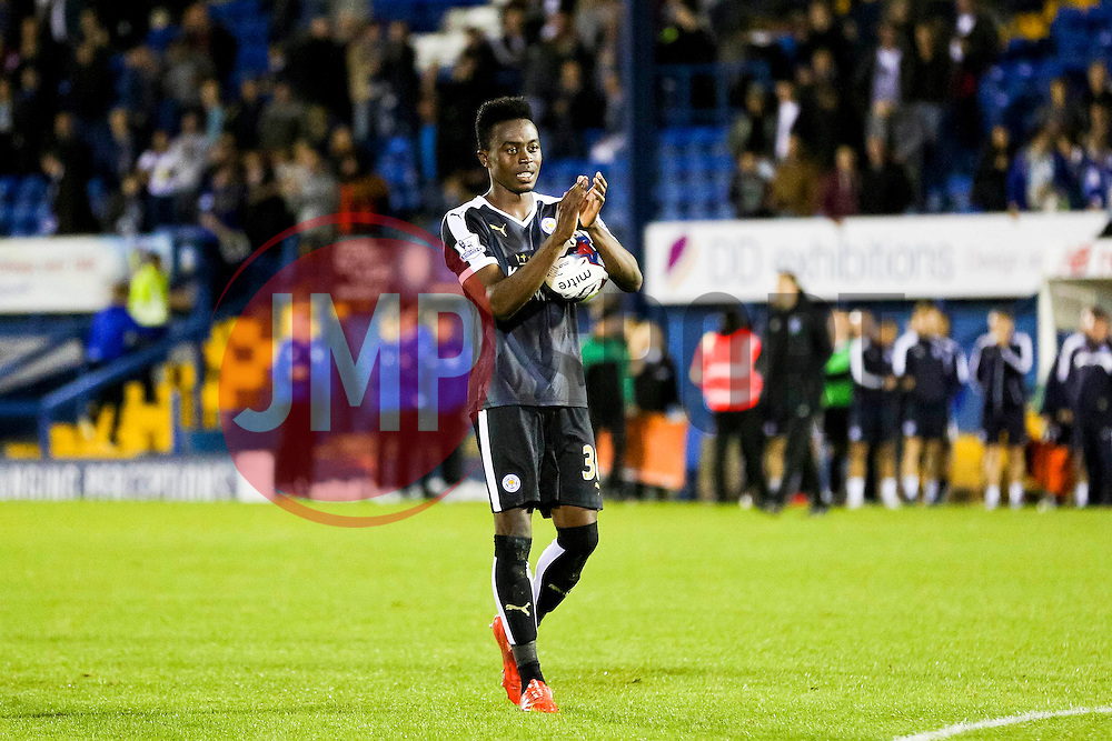 Joe Dodoo of Leicester City celebrates with the match ball after scoring his hat-trick, after the final whistle - Mandatory byline: Matt McNulty/JMP - 07966386802 - 25/08/2015 - FOOTBALL - Gigg Lane -Bury,England - Bury v Leicester City - Capital One Cup - Second Round