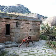 Pehalwan wrestling in front of the old garadi mane in Chitradurga