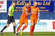 Goal Luton Town midfielder George Moncur (20) scores and celebrates a goal 1-0 during the EFL Sky Bet League 1 match between Luton Town and Oxford United at Kenilworth Road, Luton, England on 4 May 2019.