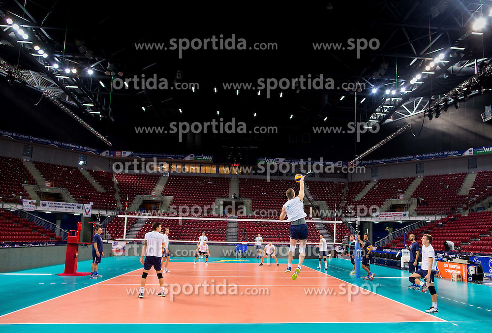 Tine Urnaut #17 of Slovenia during practice session of Slovenian team in the morning of Final day of  2015 CEV Volleyball European Championship - Men, on October 18, 2015 in Arena Armeec, Sofia, Bulgaria. Photo by Vid Ponikvar / Sportida