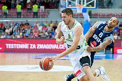 Bostjan Nachbar of Slovenia and Zack Lamar Wright of Bosnia and Herzegovina during friendly match between National teams of Slovenia and Bosnia and Herzegovina for Eurobasket 2013 on August 16, 2013 in Podmezakla, Jesenice, Slovenia. (Photo by Urban Urbanc / Sportida.com)
