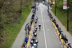 The peloton still have the leaders in their sights at the Amstel Gold Race Ladies Edition - a 121.6 km road race between Maastricht and Valkenburg on April 16 2017 in Limburg, Netherlands.