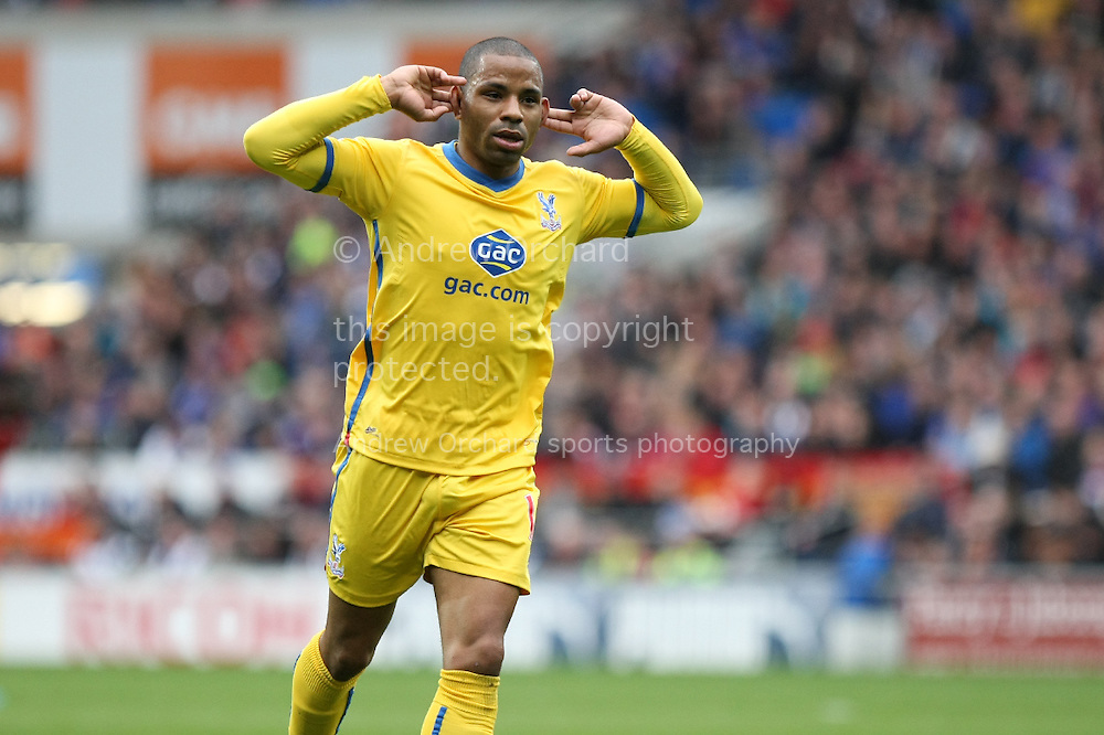 Jason Puncheon of Crystal Palace celebrates after scoring his side's first goal. Barclays Premier league match, Cardiff city v Crystal Palace at the Cardiff city stadium in Cardiff, South Wales on Saturday 5th April 2014.<br /> pic by Mark Hawkins, Andrew Orchard sports photography.
