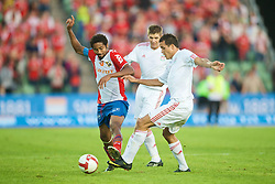 OSLO, NORWAY - Wednesday, August 5, 2009: Liverpool's Philipp Degen in action against FC Lyn Oslo's Paul Obiefule during a preseason match at the Bislett Stadion. (Pic by David Rawcliffe/Propaganda)