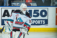 KELOWNA, BC - FEBRUARY 12: Cole Schwebius #31 of the Kelowna Rockets skates during warm up against the Tri-City Americans at Prospera Place on February 8, 2020 in Kelowna, Canada. (Photo by Marissa Baecker/Shoot the Breeze)