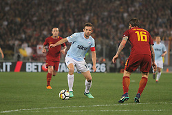 April 15, 2018 - Rome, Lazio, Italy - Senad Lulic versus Daniele De Rossi.at Stadio Olimpico of Roma. Lazio and Roma tied for 0-0 the ''derby della Capitale'' of Italian Serie A. (Credit Image: © Paolo Pizzi/Pacific Press via ZUMA Wire)