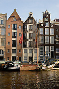 Sailing barge tied up on the Prinsengracht, Amsterdam
