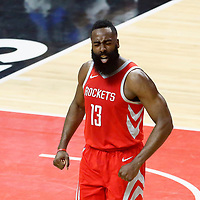 28 February 2018: Houston Rockets guard James Harden (13) celebrates during the Houston Rockets 105-92 victory over the LA Clippers, at the Staples Center, Los Angeles, California, USA.