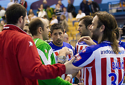 Ibanez Hombrados of Atletico Madrid ant other players after the handball match between RK Celje Pivovarna Lasko and BM Atletico Madrid in 2nd Round of Group B of EHF Champions League 2012/13 on October 6, 2012 in Arena Zlatorog, Celje, Slovenia. Atletico Madrid defeated Celje Pivovarna Lasko 28-22. (Photo By Vid Ponikvar / Sportida)