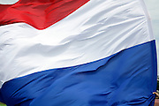 Dutch red white and blue colors flag close up