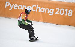 PYEONGCHANG, March 12, 2018  Simon Patmore from Australia celebrates after winning the Men's Snowboard Cross Big Final SB-UL of the 2018 PyeongChang Winter Paralympic Games at Jeongseon Alpine Centre, South Korea, March 12, 2018. Simon Patmore claimed the title of the event. (Credit Image: © Xia Yifang/Xinhua via ZUMA Wire)