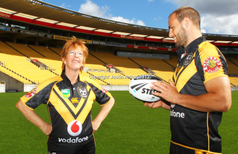 Celia Wade-Brown Mayor of Wellington and Simon Mannering. Vodafone Warriors in Wellington - Vodafone Warriors hold a press conference in Wellington ahead of their clash with the Bulldogs on Saturday 11 May 2013. Westpac Stadium, Wellington, New Zealand on 20 March 2013. Photo: Justin Arthur / photosport.co.nz