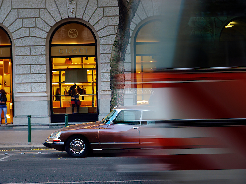 A Citroen DS in front of Gucci, Budapest, Hungary.