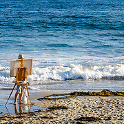 Painting by the Sea. Santa barbara, CA. USA.