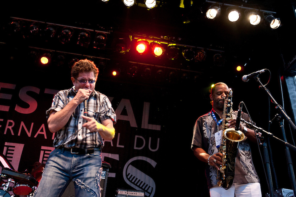 Lowrider Band, consisting of former War members Howard E. Scott, B.B. Dickerson, Lee Oskar, and Harold Brown live at the19th edition of Festival International du Blues de Tremblant. July 12, 2012. © Allen McEachern.
