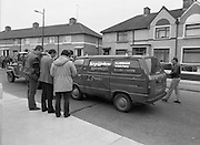 "John O'Grady Rescued By Gardai.   (R67)..1987..05.11.1987..11.05.1987..5th November 1987..After being kidnapped from his home in Cabinteely, Co Dublin, John O'Grady was finally rescued after twenty one days in captivity. he was located in a house inCarnlough Road, Cabra West, Dublin. During his ordeal Mr O""Grady was mutilated by the kidnappers led by Dessie O'Hare to apply pressure on his family to pay the ransom sought. In an ensuing gun battle with the kidnappers a detective garda was shot and seriously wounded. In the chaos that followed the kidnappers escaped and were not all captured for a further three weeks after a massive manhunt...Picture shows a van which had been hijacked by the kidnappers being towed away by the Garda Technical squad for forensic examination."