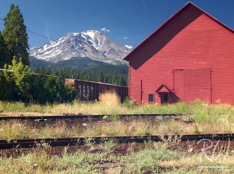 Red Train Depot and Mount Shasta, McCloud, California