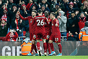Liverpool forward Sadio Mane (10) celebrates his goal 4-1  during the Premier League match between Liverpool and Everton at Anfield, Liverpool, England on 4 December 2019.