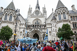 © Licensed to London News Pictures. 15/07/2019. London, UK. Hundreds of Extinction Rebellion climate change activists protest outside the Royal Courts of Justice demanding the legal system take responsibility in the climate change crisis, and ensure the safety of future generations by making ecocide law. The environmental group is staging similar protests in Leeds, Cardiff, Glasgow, Bristol, Norwich and other cities around the country. Photo credit: Dinendra Haria/LNP