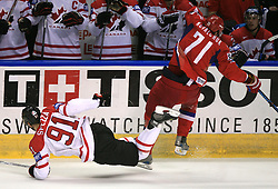 Jason Spezza (91) of Canada and Ilya Kovalchuk (71) of Russia at  ice-hockey game Canada vs Russia at finals of IIHF WC 2008 in Quebec City,  on May 18, 2008, in Colisee Pepsi, Quebec City, Quebec, Canada. Win of Russia 5:4 and Russians are now World Champions 2008. (Photo by Vid Ponikvar / Sportal Images)