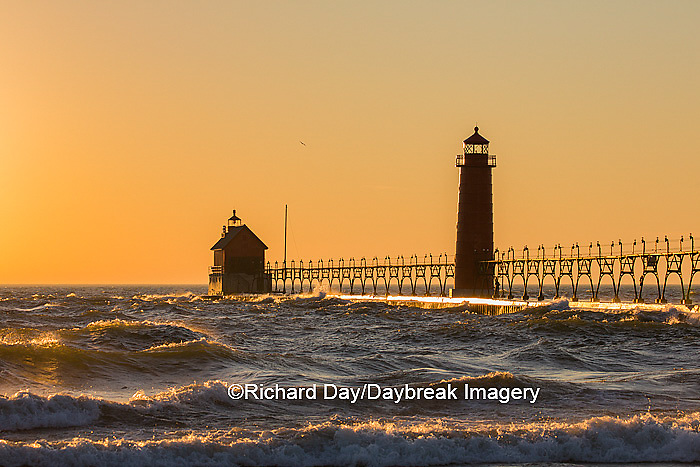 64795-01119 Grand Haven South Pier Lighthouse at sunset on Lake Michigan, Ottawa County, Grand Haven, MI