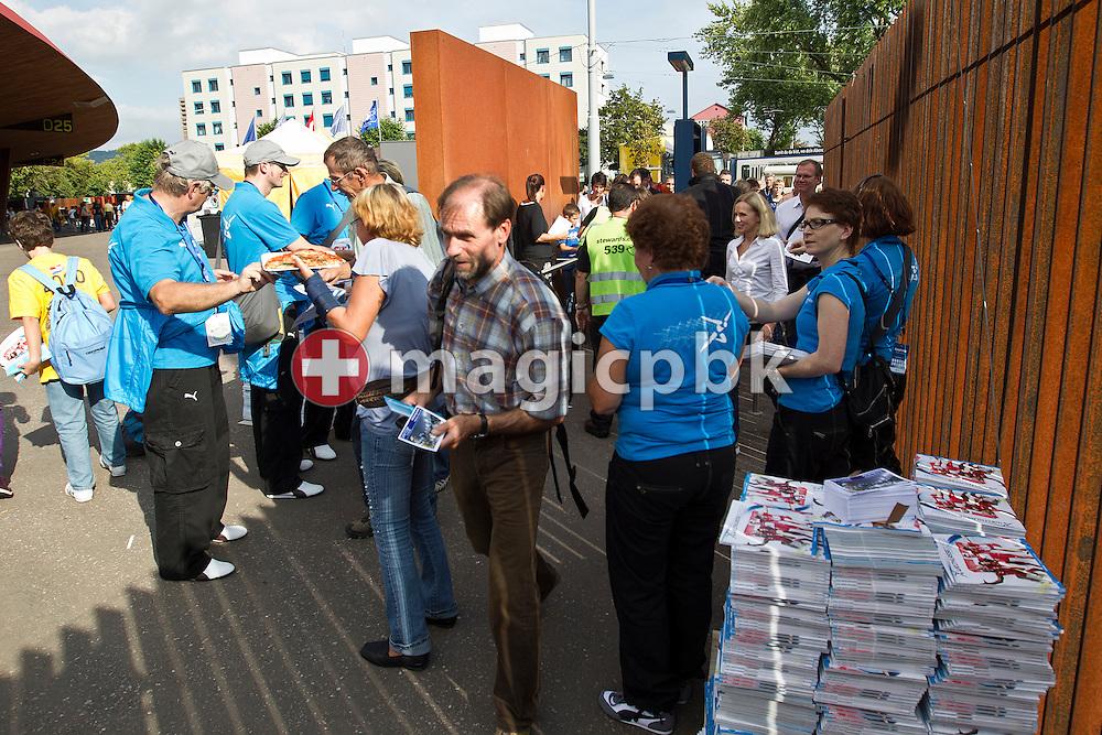 Spectators enter the stadium prior to the IAAF Diamond League meeting at the Letzigrund Stadium in Zurich, Switzerland, Thursday, Aug. 19, 2010. (Photo by Patrick B. Kraemer / MAGICPBK)