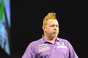 Peter Wright at the 2015 Premier League Darts at the Manchester Arena, Manchester, United Kingdom on 2 April 2015. Photo by Mark Pollitt.