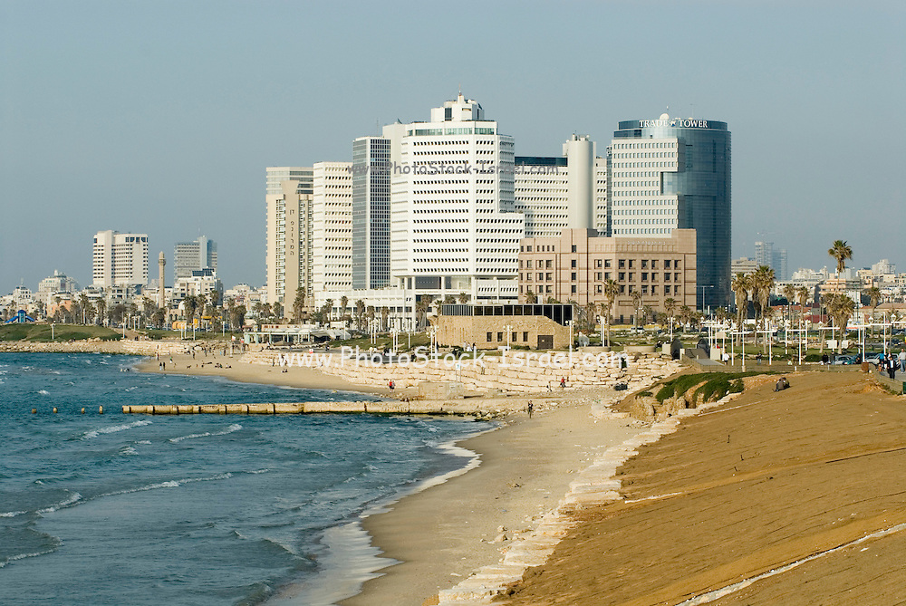 Israel Tel Aviv water front The Textile Center and the Dan Panorama Hotel