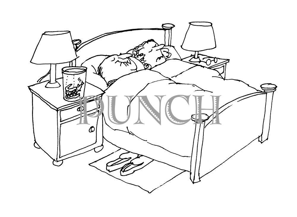 (Middle aged couple in bed. Man's false teeth in glass of water also containing goldfish)